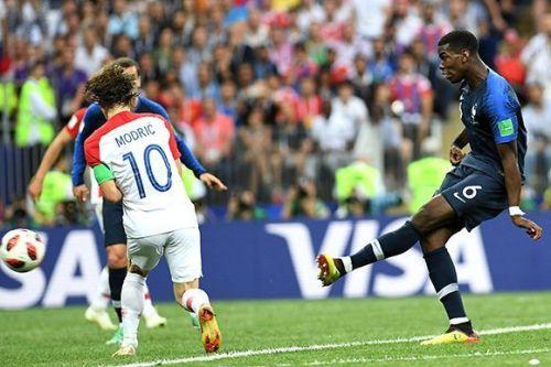Paul Pogba anota el tercer gol de Francia. Foto: Getty Images.