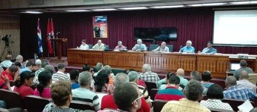 Reunión resumen de la visita gubernamental a Pinar del Río. Foto: Estudios Revolución.